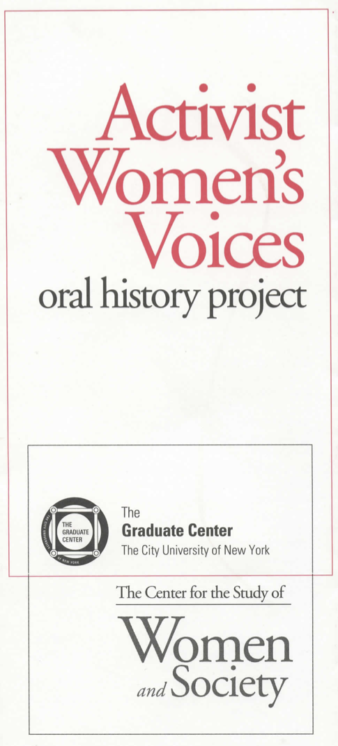 Activist Women's Voices Oral History Project (brochure)