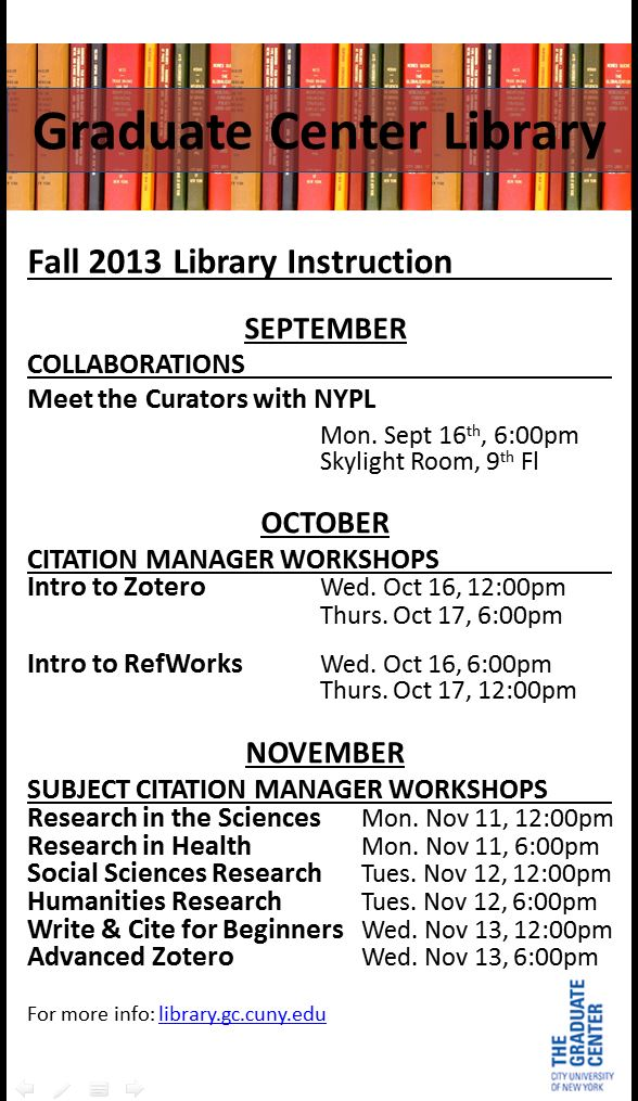 Fall2013Workshops