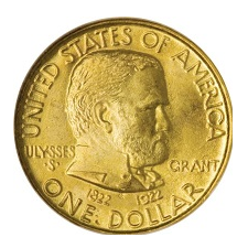 1922 Ulysses S. Grant gold commemorative dollar coin