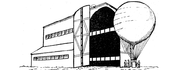 A SPHERICAL BALLOON AND BALLOON SHED USED IN THE UNITED STATES ARMY