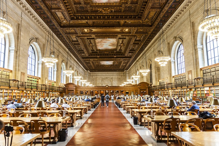 NYPL Rose Reading Room Photo is © Jiahui Huang, used under a Creative Commons Attribution-ShareAlike 2.0 Generic license..