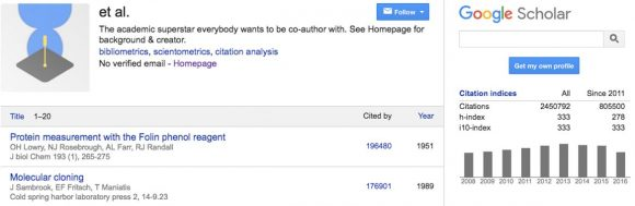 Google Scholar Profile for et al.