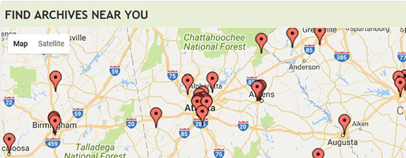 Snapshot of ArchiveGrid map